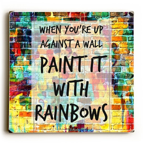 Paint It with Rainbows - Multi Planked Wood Wall Decor by Julia Di Sano