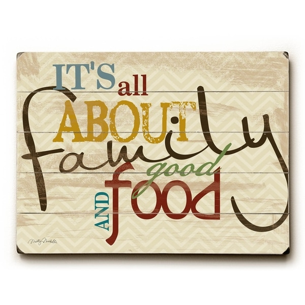 Family Good Food and Fun - 9x12 Solid Wood Wall Decor by Misty Diller - 9 x 12