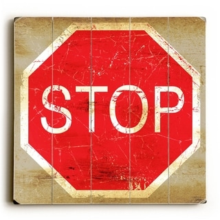 Stop Sign -   Planked Wood Wall Decor by Peter Horjus