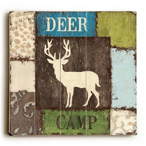 Deer Camp - Planked Wood Wall Decor by Debbie DeWitt
