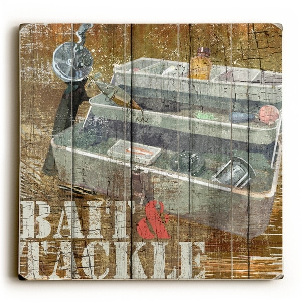 Bait and Tackle - Planked Wood Wall Decor by ArtLicensing