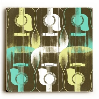 Guitar Criss Cross -   Planked Wood Wall Decor by Stella Bradley