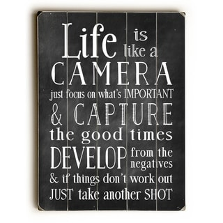 Life is Like A Camera -  9x12 Solid Wood Wall Decor by Nancy Anderson - 9 x 12