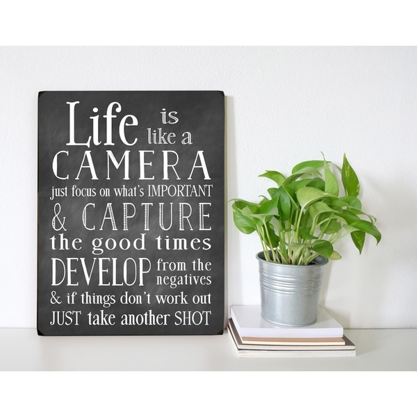 Life is Like A Camera - 9x12 Solid Wood Wall Decor by Nancy Anderson