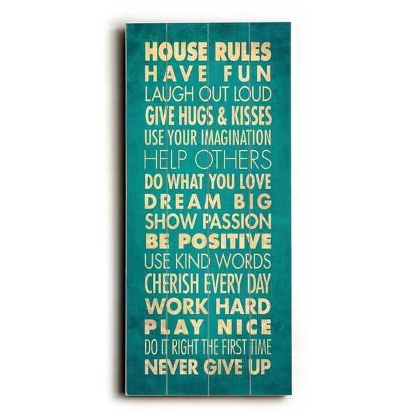 House Rules - Have Fun - Planked Wood Wall Decor by Drew Patterson