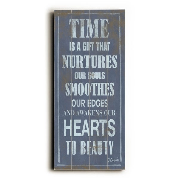 Time is a Gift - Planked Wood Wall Decor by FLAVIA