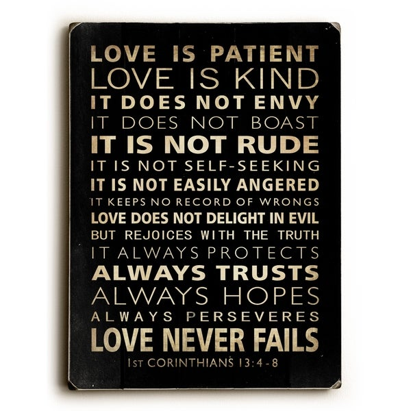 Love is Patient - 9x12 Solid Wood Wall Decor by Nancy Anderson