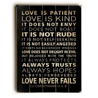 Love is Patient -  9x12 Solid Wood Wall Decor by Nancy Anderson - 9 x 12