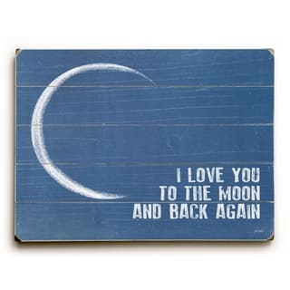 I love you to the moon and back - 9x12 Solid Wood Wall Decor by Lisa Weedn - 9 x 12