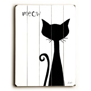 meow -  9x12 Solid Wood Wall Decor by Lisa Weedn - 9 x 12
