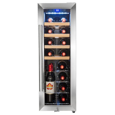 AKDY WC0071 20 Bottle Touch Panel Single Zone Wire Wood Shelves Freestanding Wine Cooler