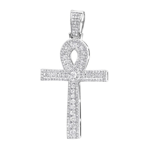 Shop Mens Ankh Diamond Pave Cross Pendant Egyptian Symbol Of Life