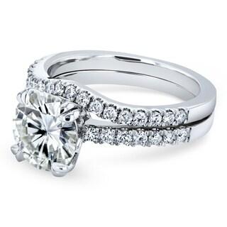 Annello By Kobelli 14k Gold 2 1 3ct TGW Moissanite And Lab Grown Diamond Bridal Rings Set FG VS DEF VS Pink Yellow White