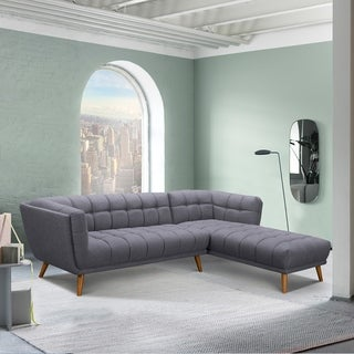 Belina Mid-Century Sectional in Champagne WoodFinish and Dark Grey Fabric