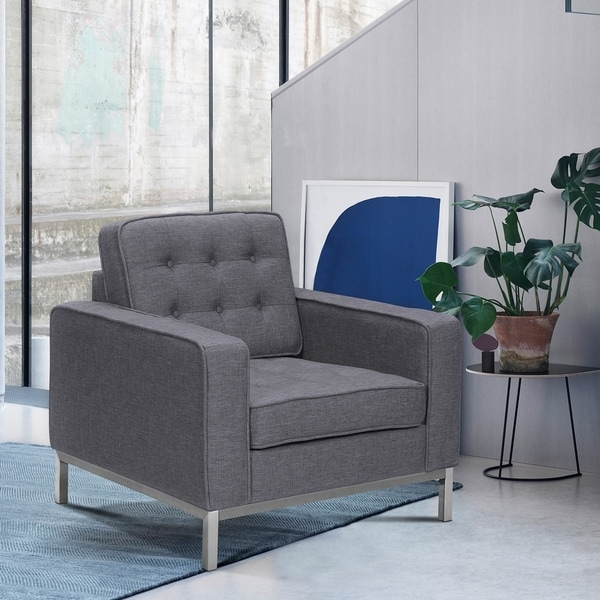 Shop Chandler Contemporary Sofa Chair in Brushed Stainless Steel ...