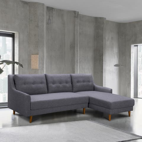 Armen Living Divine Mid-Century Sectional in Champagne Wood Finish and Dark Gray Fabric
