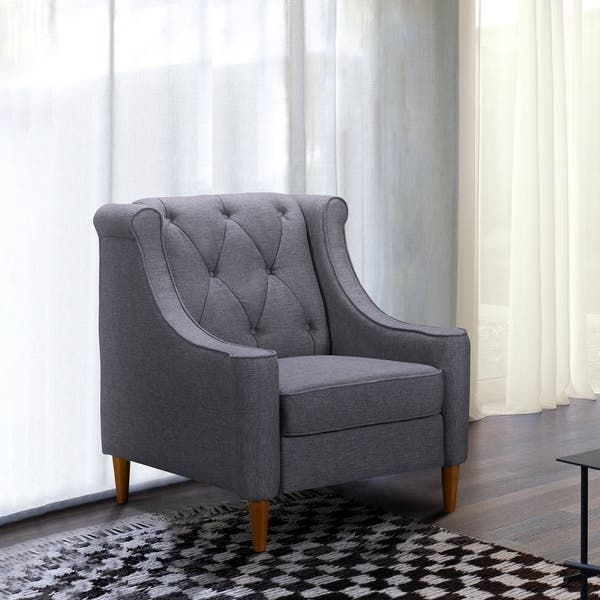 Enjoyable Shop Luxe Mid Century Sofa Chair In Champagne Wood Finish Creativecarmelina Interior Chair Design Creativecarmelinacom