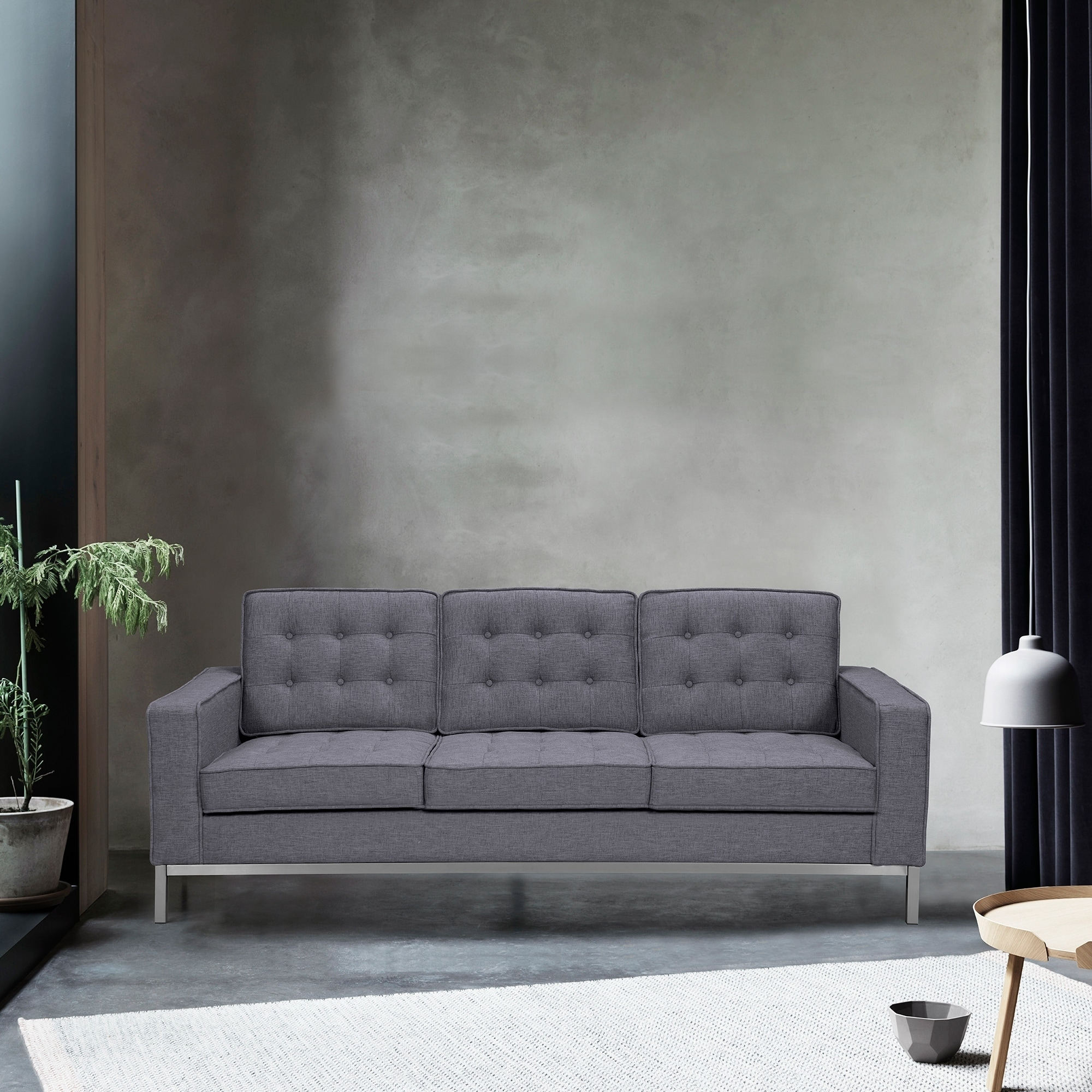 Armen Living Chandler Contemporary Sofa In Brushed Stainless Steel Finish And Dark Grey Fabric