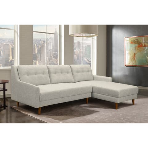 Armen Living Divine Mid-Century Sectional in Champagne Wood Finish and Beige Fabric