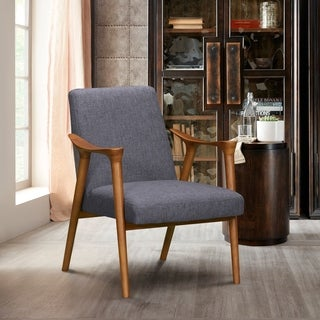 Armen Living Nathan Mid-Century Accent Chair in Champagne Ash Wood Finish and Dark Grey Fabric