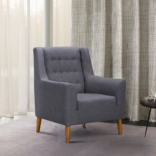 Armen Living Nubia Mid-Century Accent Chair in Champagne Wood Finish and Dark Grey Fabric
