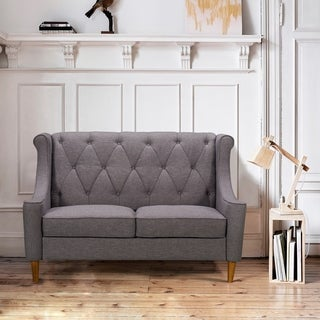Armen Living Luxe Mid-Century Loveseat in Champagne WoodFinish and Dark Grey Fabric