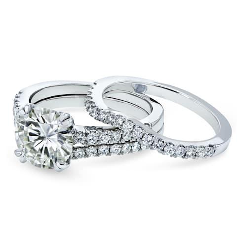 Annello by Kobelli 14k Gold 2 1/2ct TGW Moissanite and Lab Grown Diamond 3pc Bridal Rings Set (HI/VS, DEF/VS) - Pink