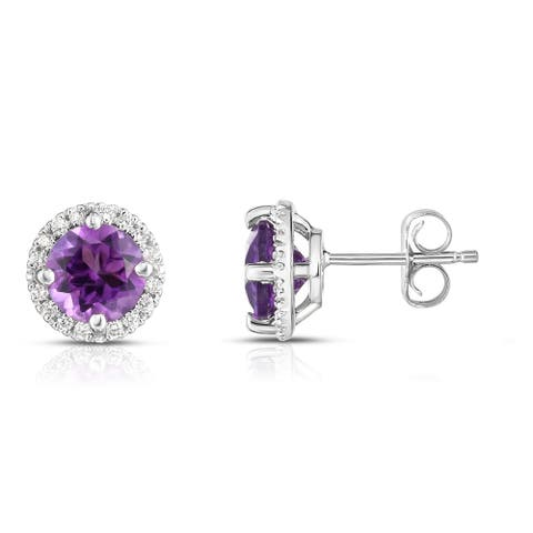 Noray Designs 14K Gold Gemstone & Diamond (0.17 Ct, G-H Color, SI2-I1 Clarity) Halo Stud Earrings