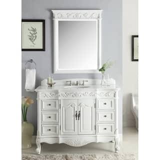 48 Benton Collection Beckham Antique White Bathroom Vanity Mirror