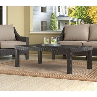 Serta Tahoe Outdoor Coffee Table, Terra Brown Wicker