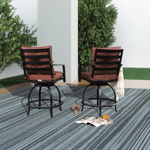 Awe Inspiring Shop Patio Festival 2 Piece High Seating Swivel Chair Set Creativecarmelina Interior Chair Design Creativecarmelinacom