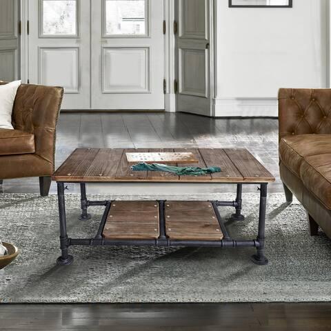 Armen Living Kyle Industrial Coffee Table in Industrial Grey and Pine Wood Top
