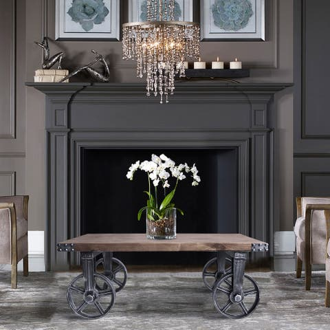 Armen Living Trego Industrial Coffee Table in Industrial Grey and Pine Wood Top