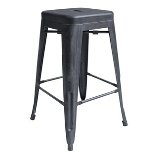 "Londrina Industrial 26"" Counter Height Backless Barstool in Industrial Grey"