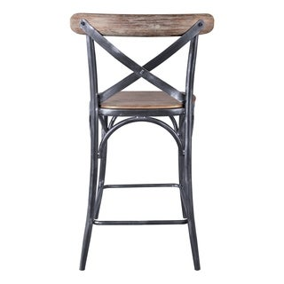 Monstance Industrial Grey Metal/Pine Wood 26-inch Counter-height Bar Stool