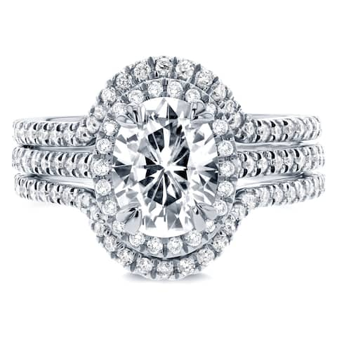 Annello by Kobelli Oval 14k Gold 2 1/4ct TGW Forever One Moissanite and Lab Grown Diamond Halo 3pc Bridal Set, DEF, VS - Yellow