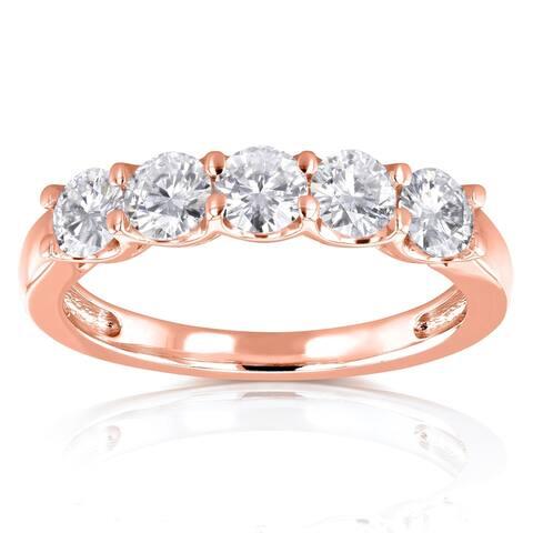 Annello by Kobelli 14k Gold 1ct TDW Lab Grown Diamond 5-Stone Wedding Band
