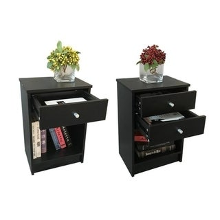 Black Wood Bedside Nightstand with 1 or 2 drawers