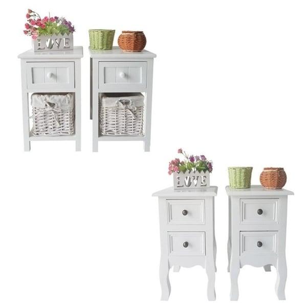 Set of 2 Furni Bedside End Side 1/2 Drawer Nightstand w/Wicker Storage 37991182