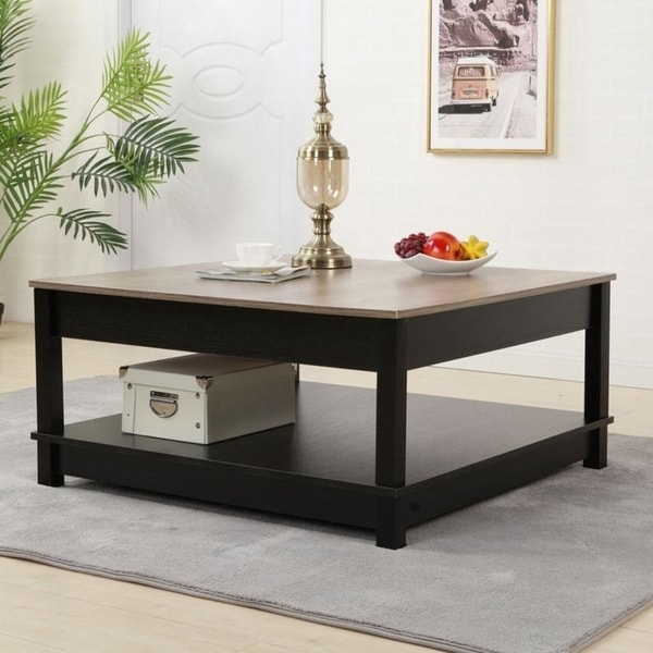 Shop 2-Layer Living Room Furniture Square End Table Coffee ...