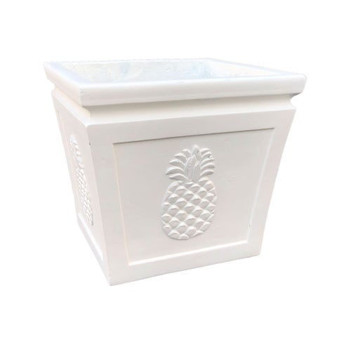 DurX-litecrete Lightweight Concrete Pineapple Embossed Flared Square Light Cream Planter-Medium - 14.17'x14.17'x12.6'