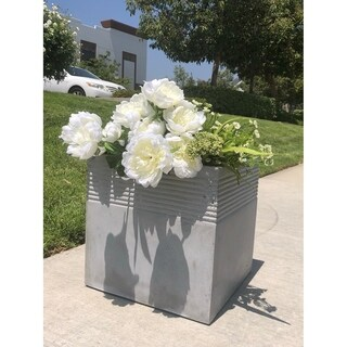 Durx-litecrete Lightweight Concrete Square Stripped Light Grey Planter-Large