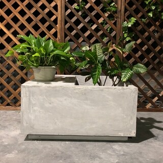 Durx-litecrete Lightweight Concrete Light Grey Square Planter And Garden Bench