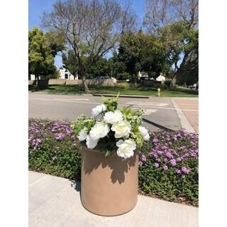Durx-litecrete Lightweight Concrete Terracotta Cylindrical Light Brown Planter-Large - 17.7'x17.7'x17.7'