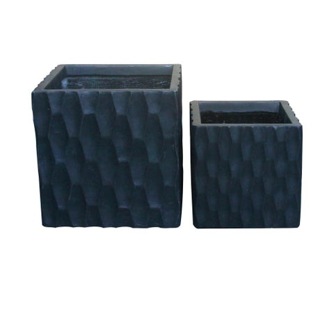 Durx-litecrete Lightweight Concrete Retro Square Granite Planter Set of 2 - 12'x12'x12'
