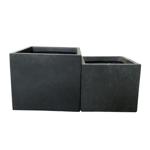 Durx-litecrete Lightweight Concrete Square Wash Granite Planter-Set of 2 - 11'x11'x9.4'