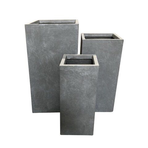 Durx-litecrete Lightweight Concrete Cement Color Tall Planter-Set of 3 - 13.8'x13.8'x27.8'
