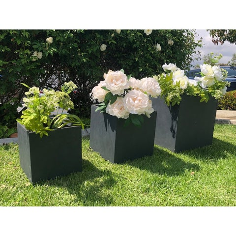 Durx-litecrete Lightweight Concrete Modern Square Granite Planter-Set of 3 - 15.7'x15.7'x15.7'
