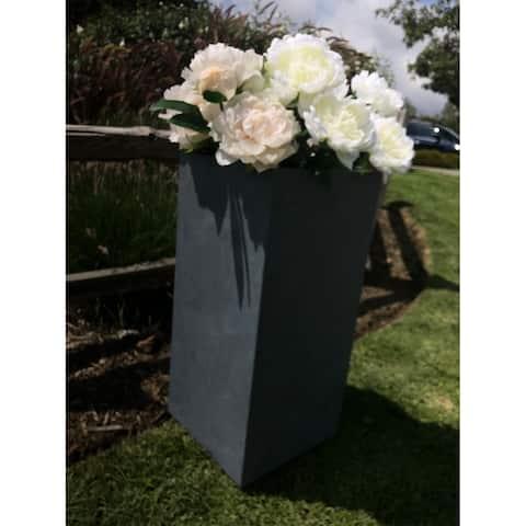 Durx-litecrete Lightweight Concrete Tall Light Granite Planter-Large - 13.8'x13.8'x27.8'
