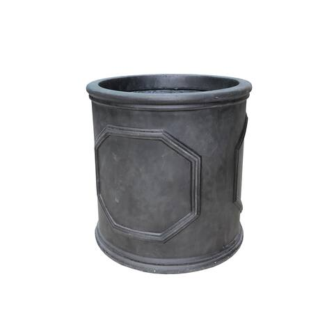 Durx-litecrete Lightweight Concrete Chelsea Lead Cylindrical Black and Brush Siliver Color Planter-Extra Large - 9.8'x9.8'x9.8'